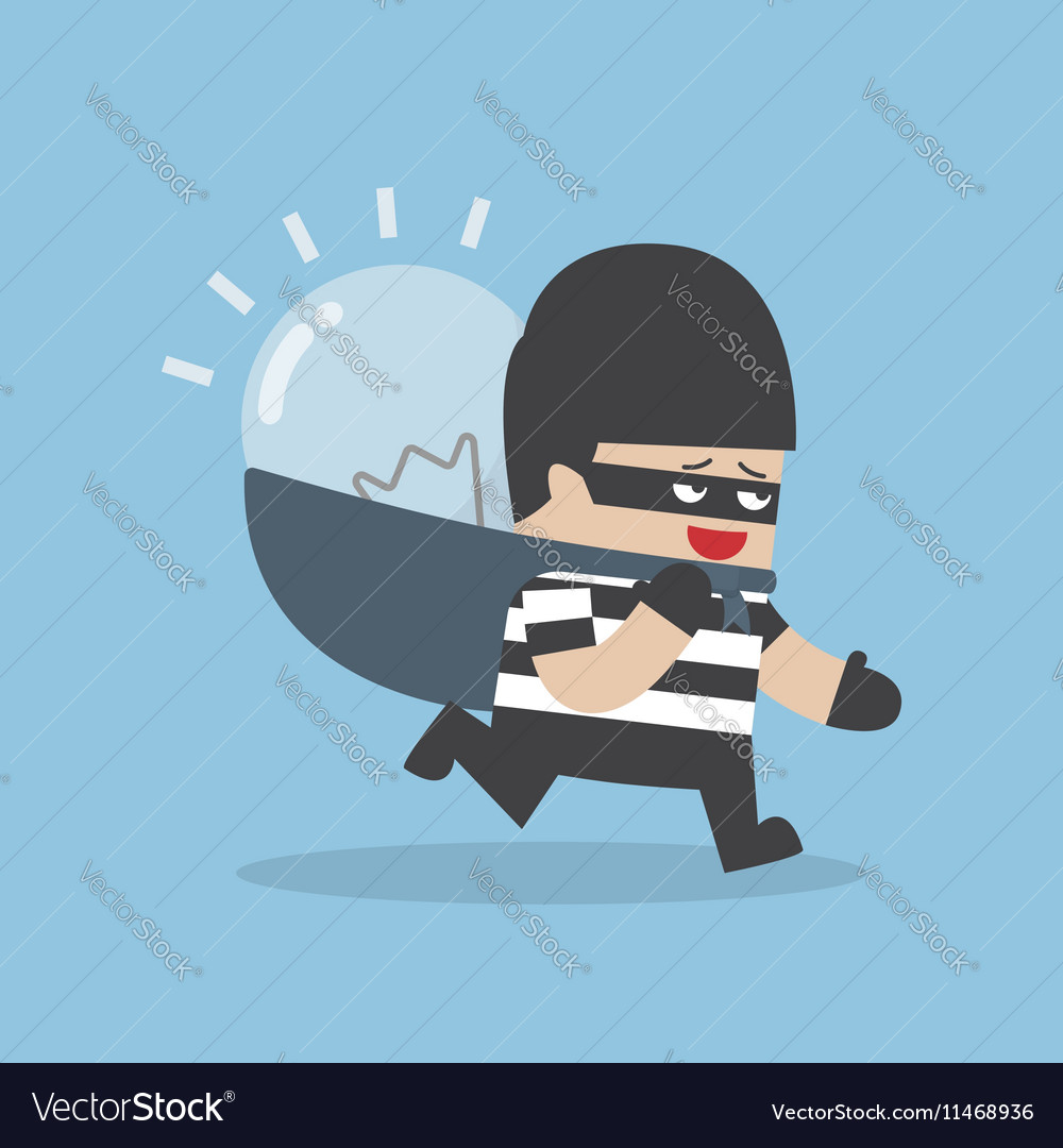 Thief stealing idea bulb and carrying on his back