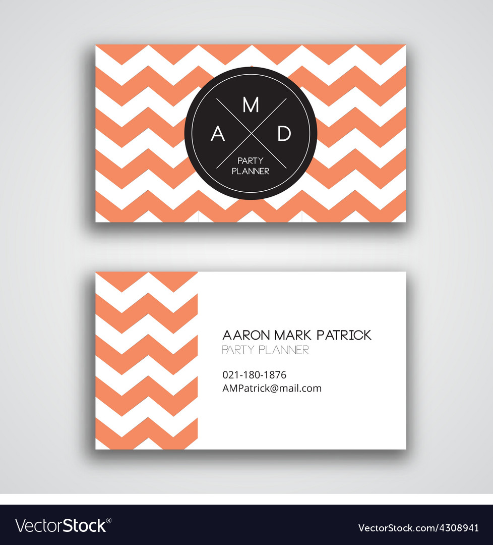 Chevron Template | Business Card Template Chevron Royalty Free Vector Image