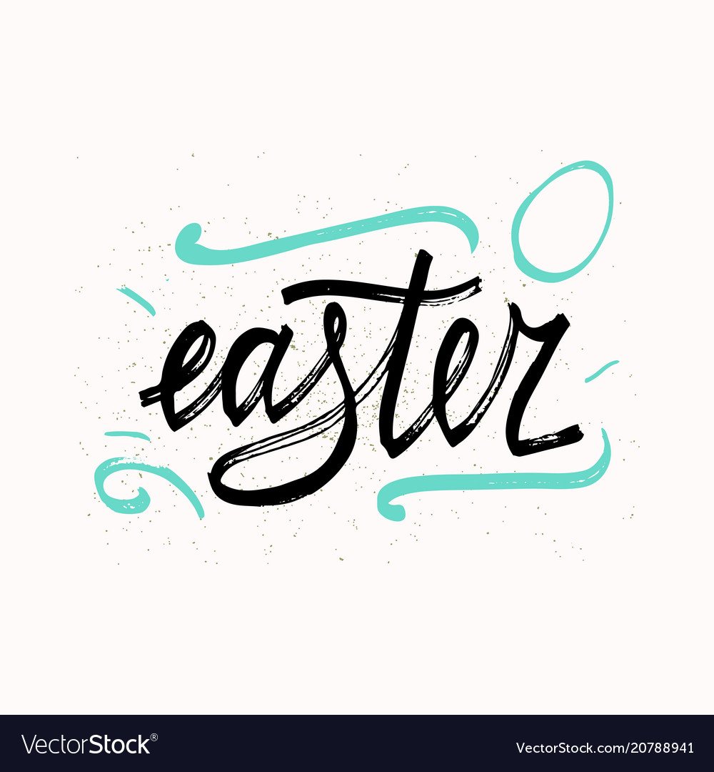 Easter typographical background hand drawn