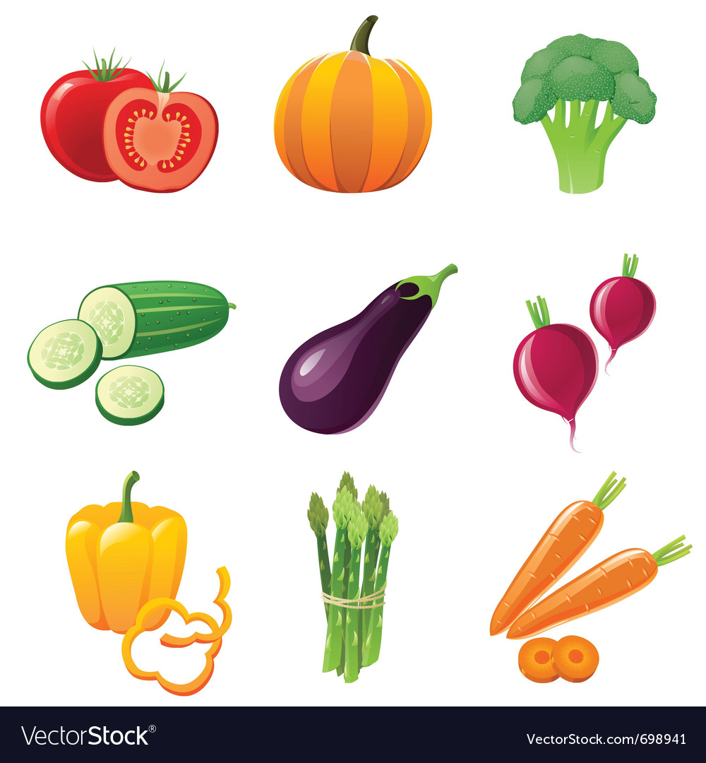 Fresh shiny vegetables - icons set vector image