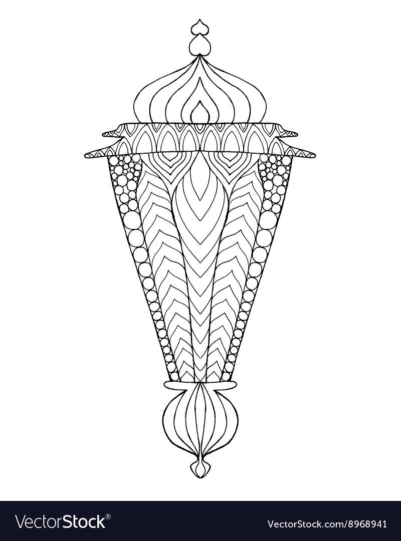 Hand drawn traditional lantern of Ramadan