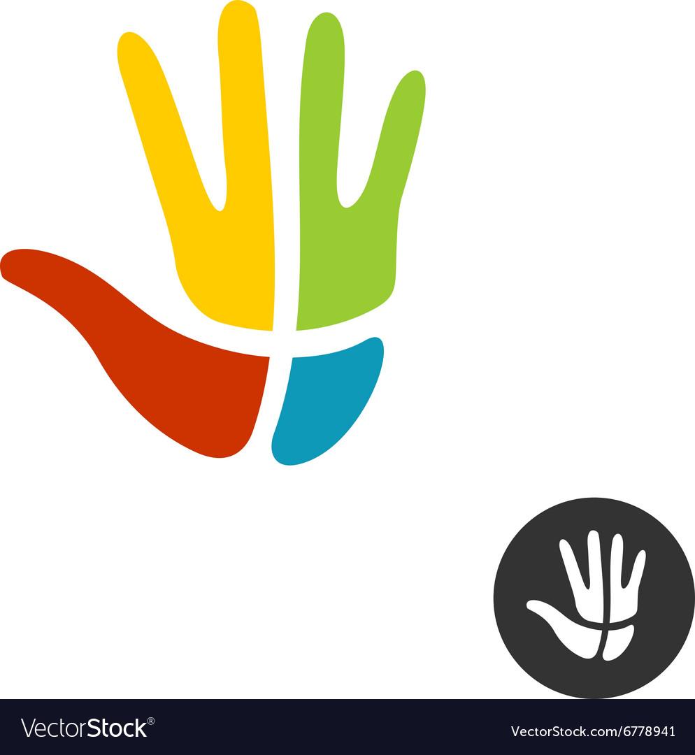 Hand with cross religion logo People faith