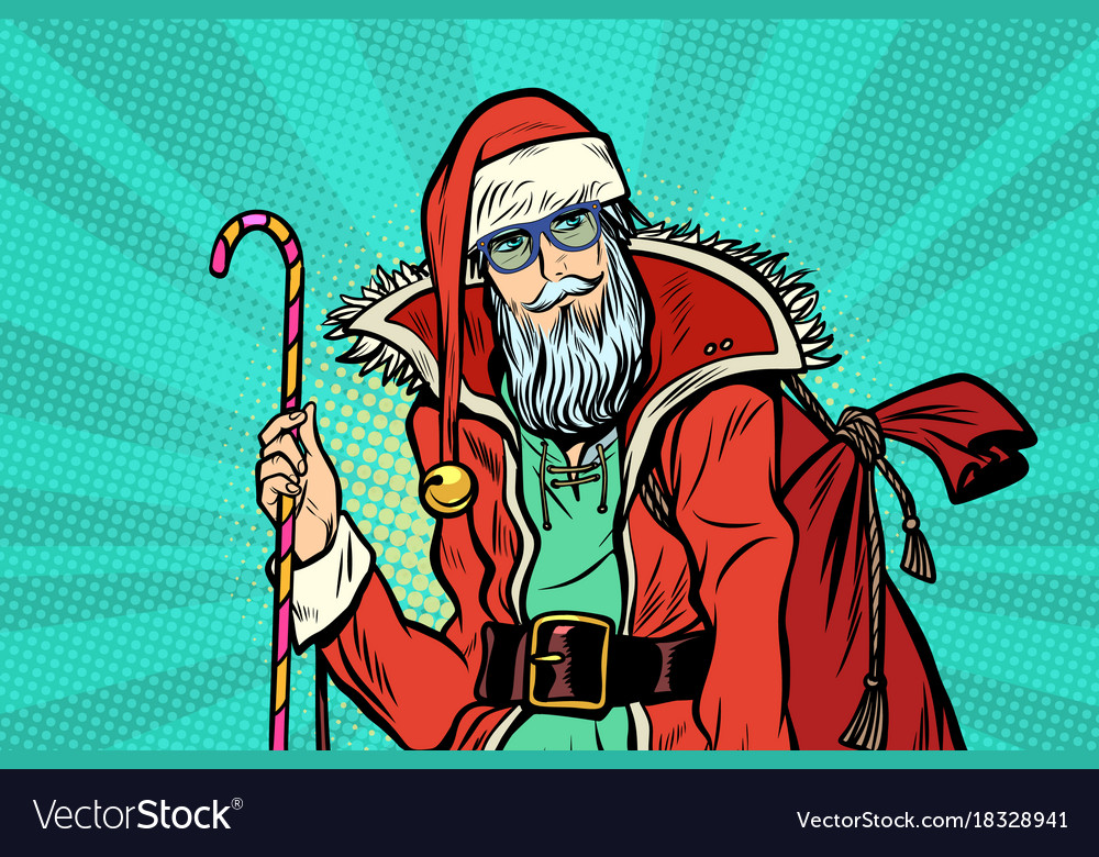 Hipster santa claus with sweets and christmas gift