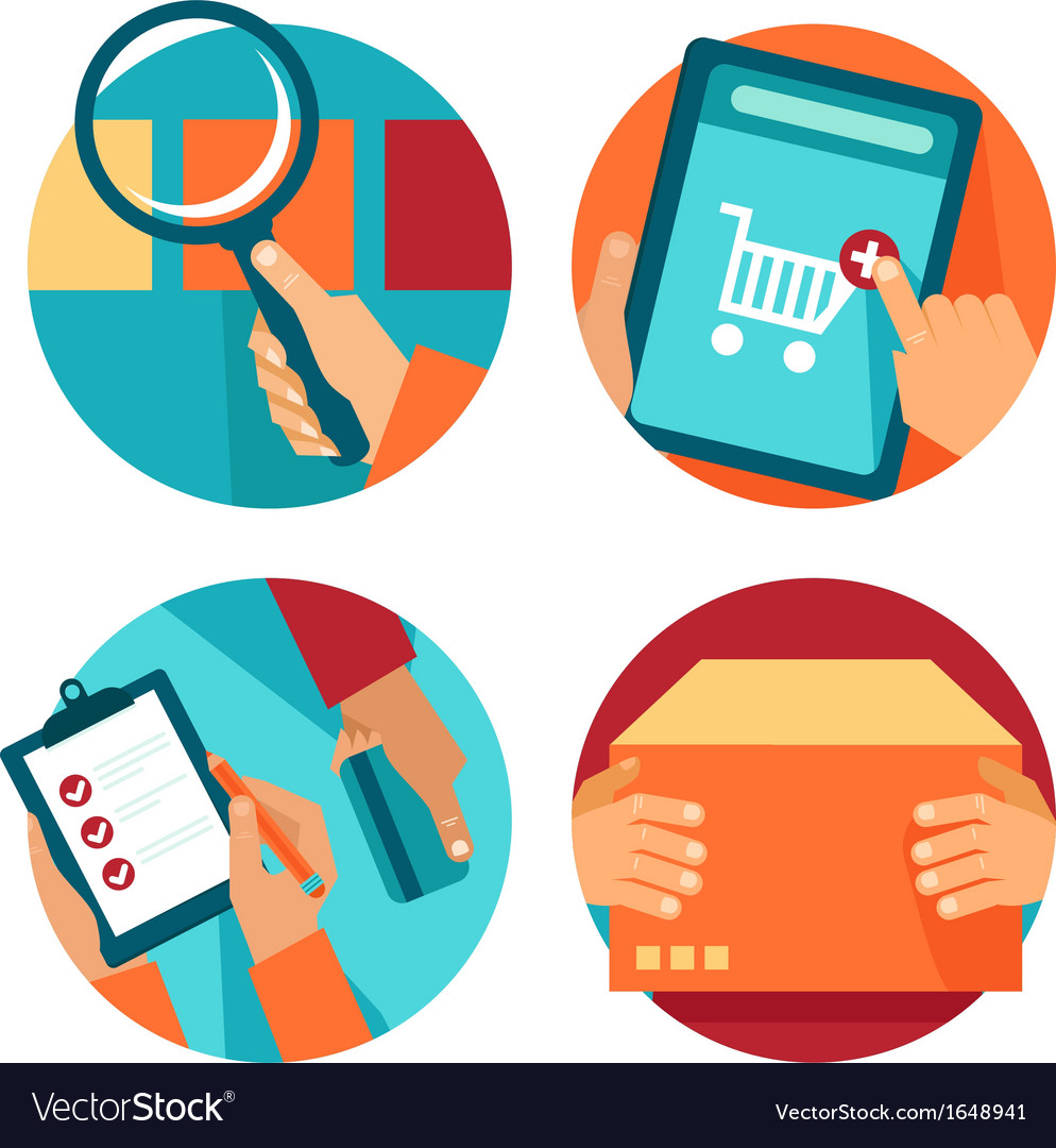 Internet shopping icons in flat style vector image