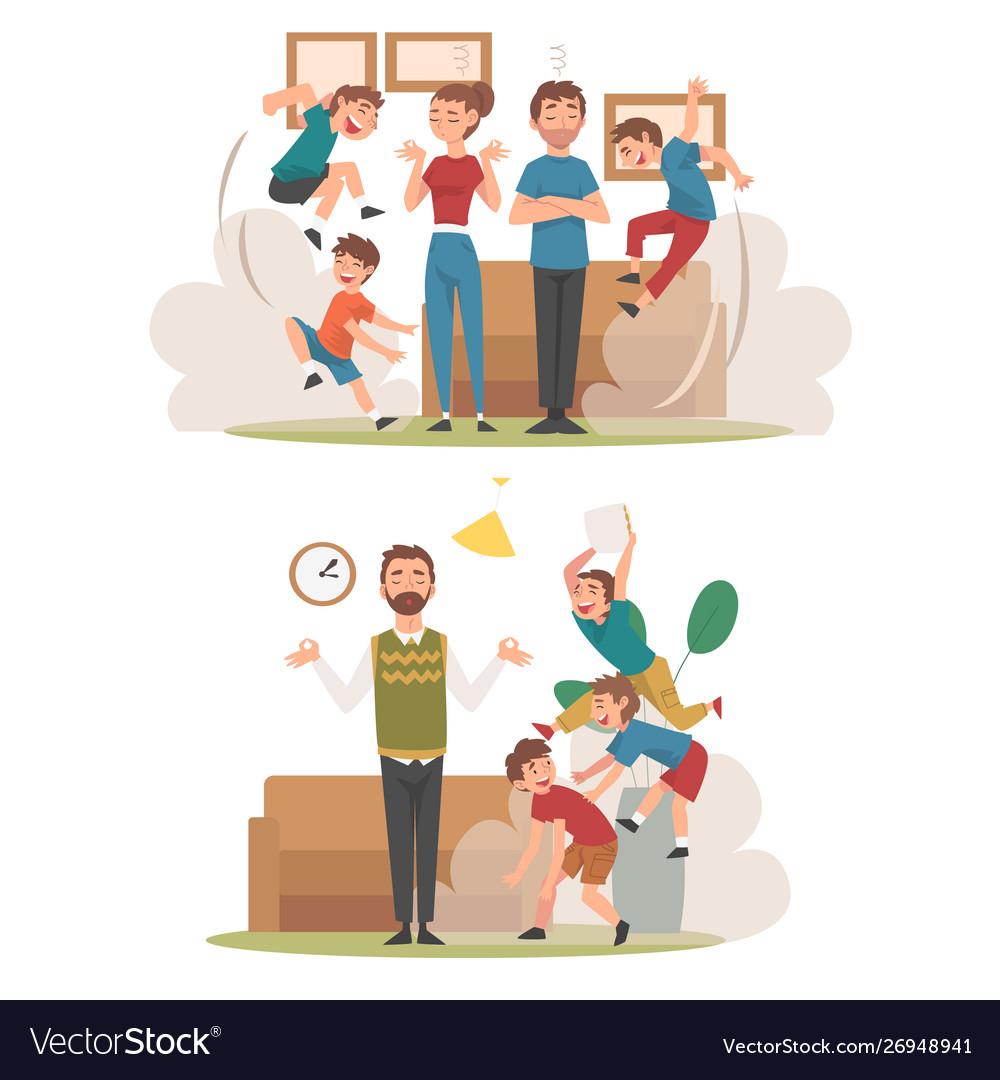 Meditating parents and mischievous children set