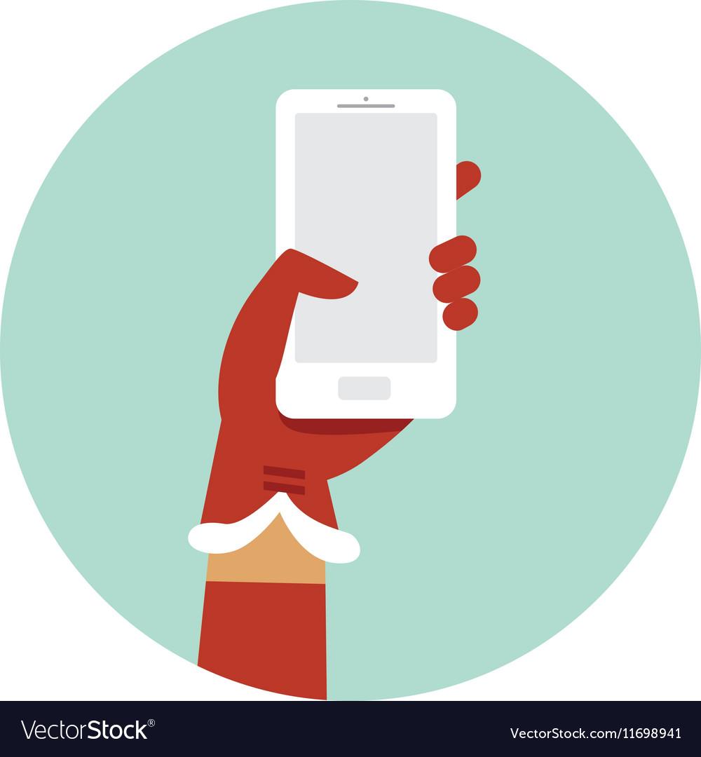 Santa hand holding smartphone vector image