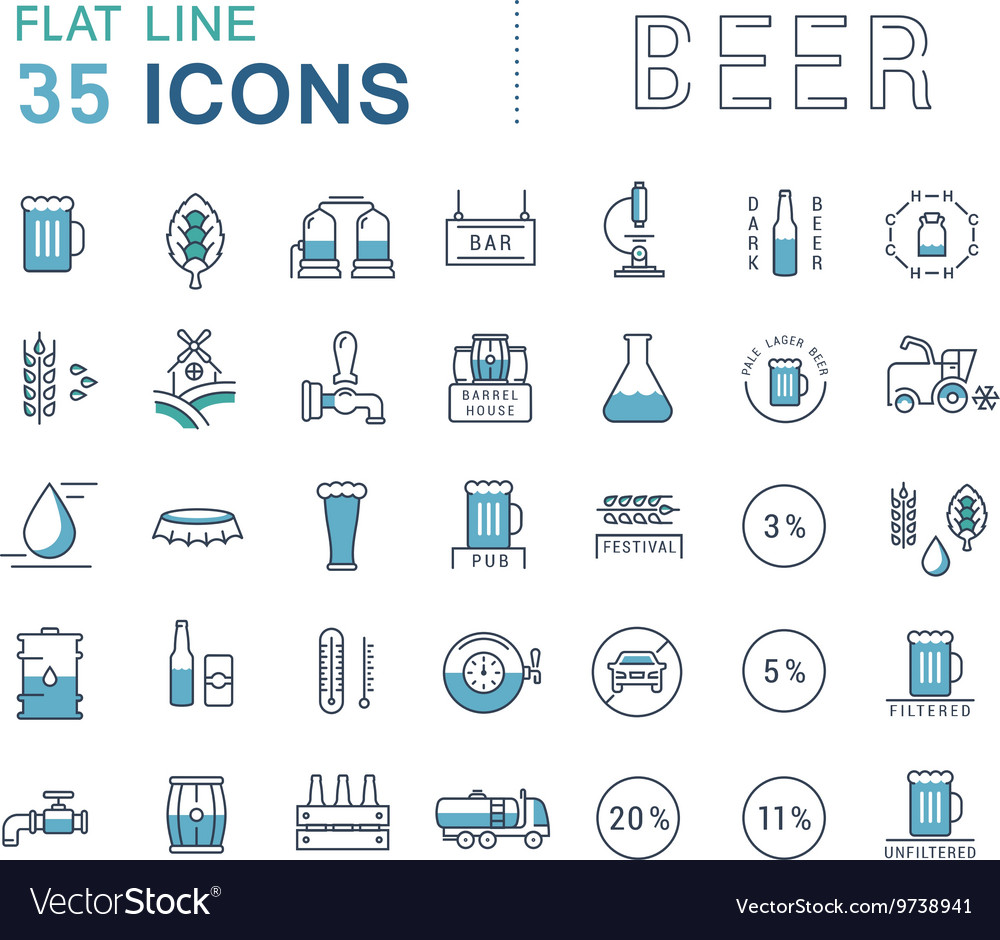 Set Line Icons Beer