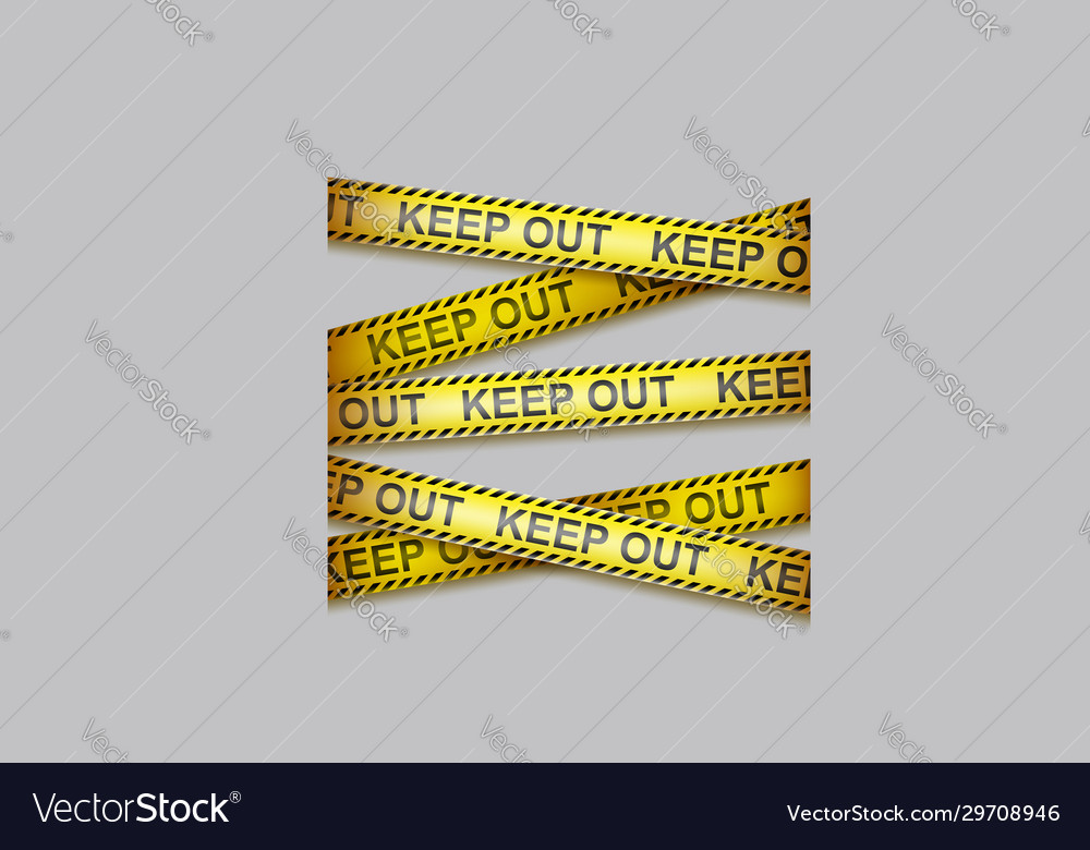 Caution tape crossing warning ribbons