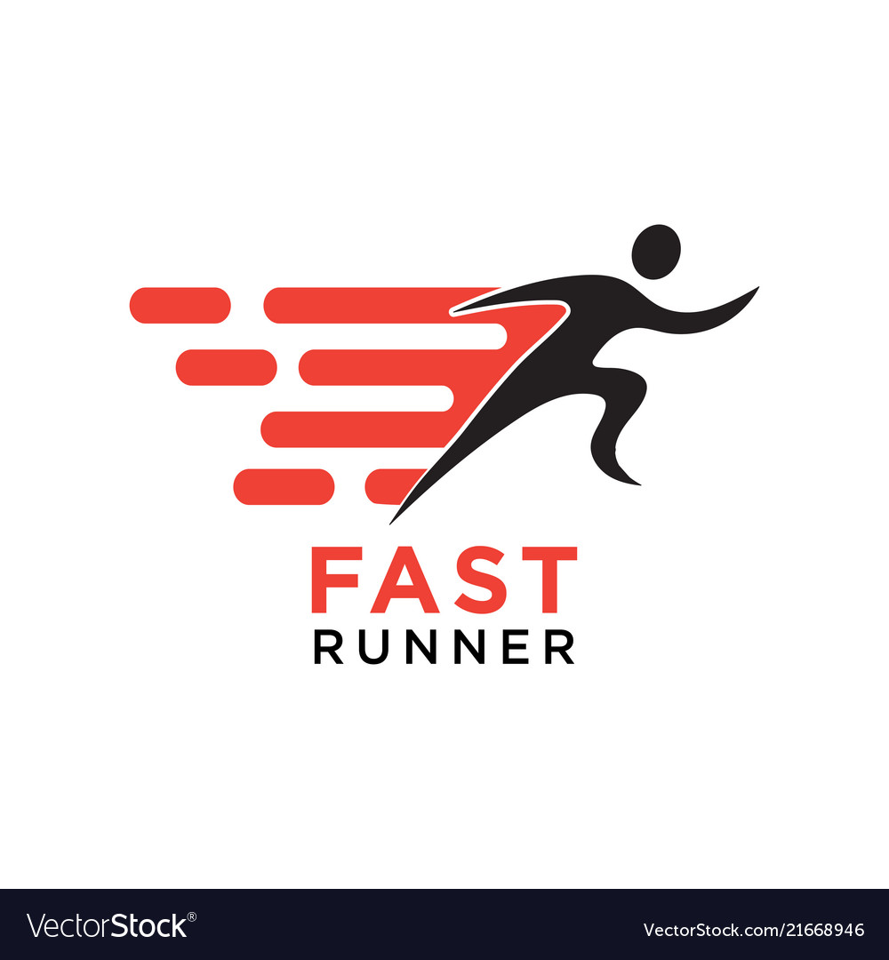 Fast running silhouette logo design template