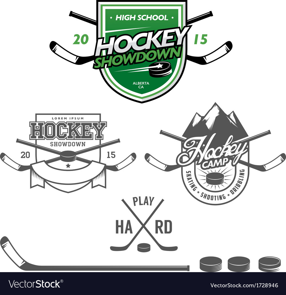 Ice hockey labels badges and design elements