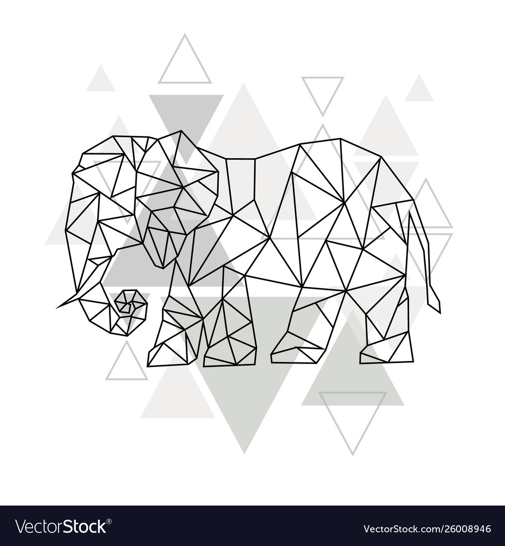 Image low poly elephant isolated and triangle