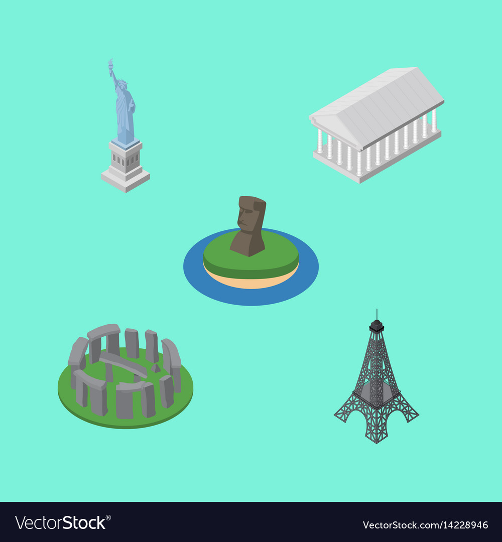 Isometric cities set of athens england new york