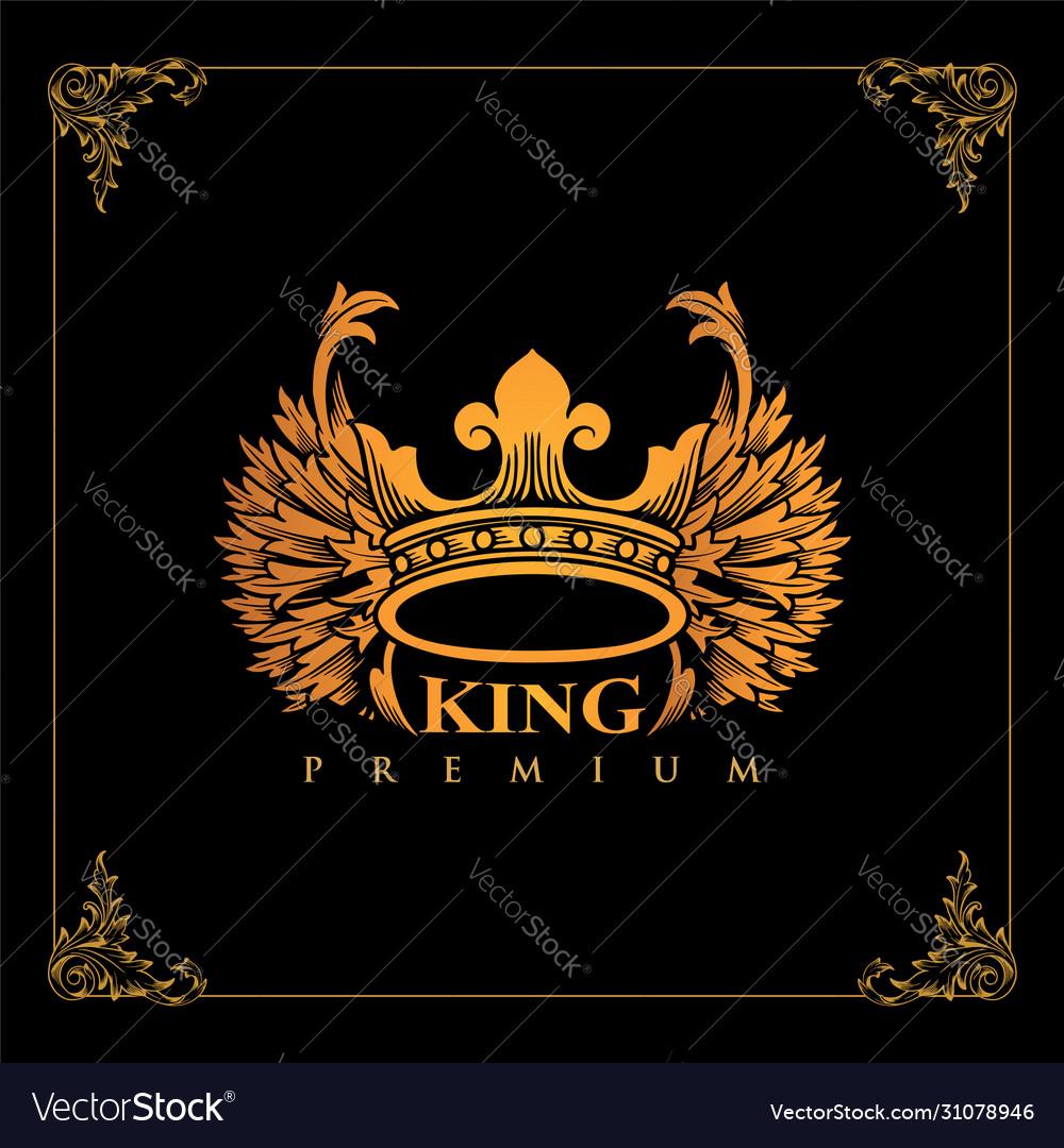 Luxury crown golden winged king design