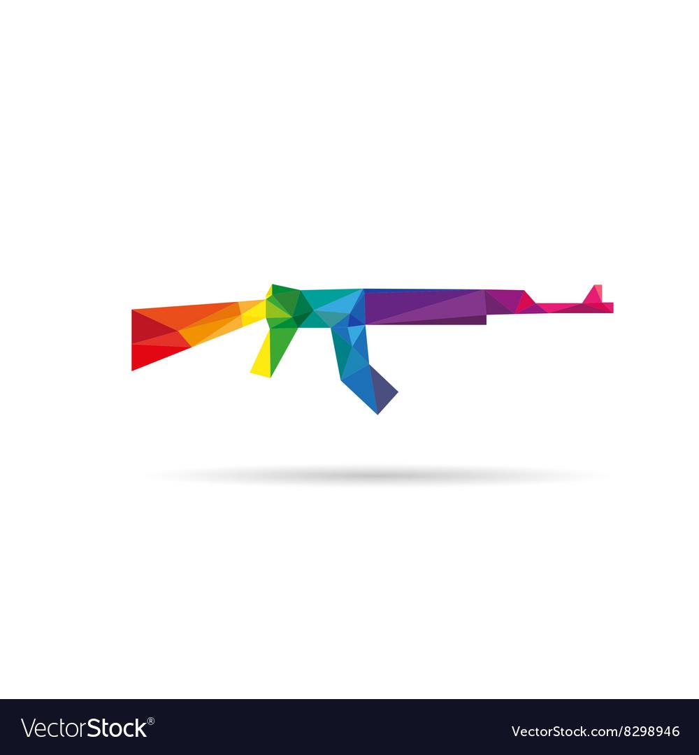 Machine gun abstract triangle vector image