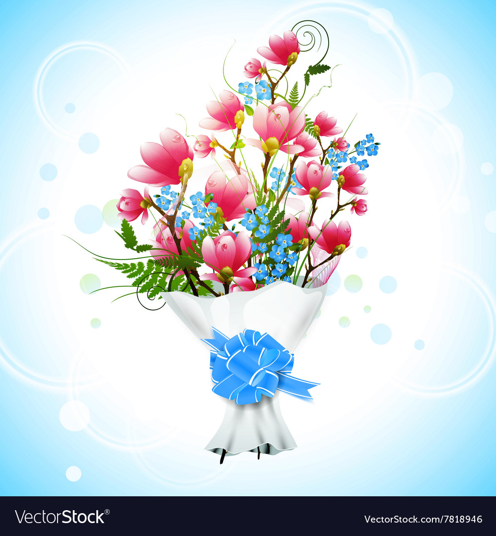 Magnolia Flower Bouquet Royalty Free Vector Image