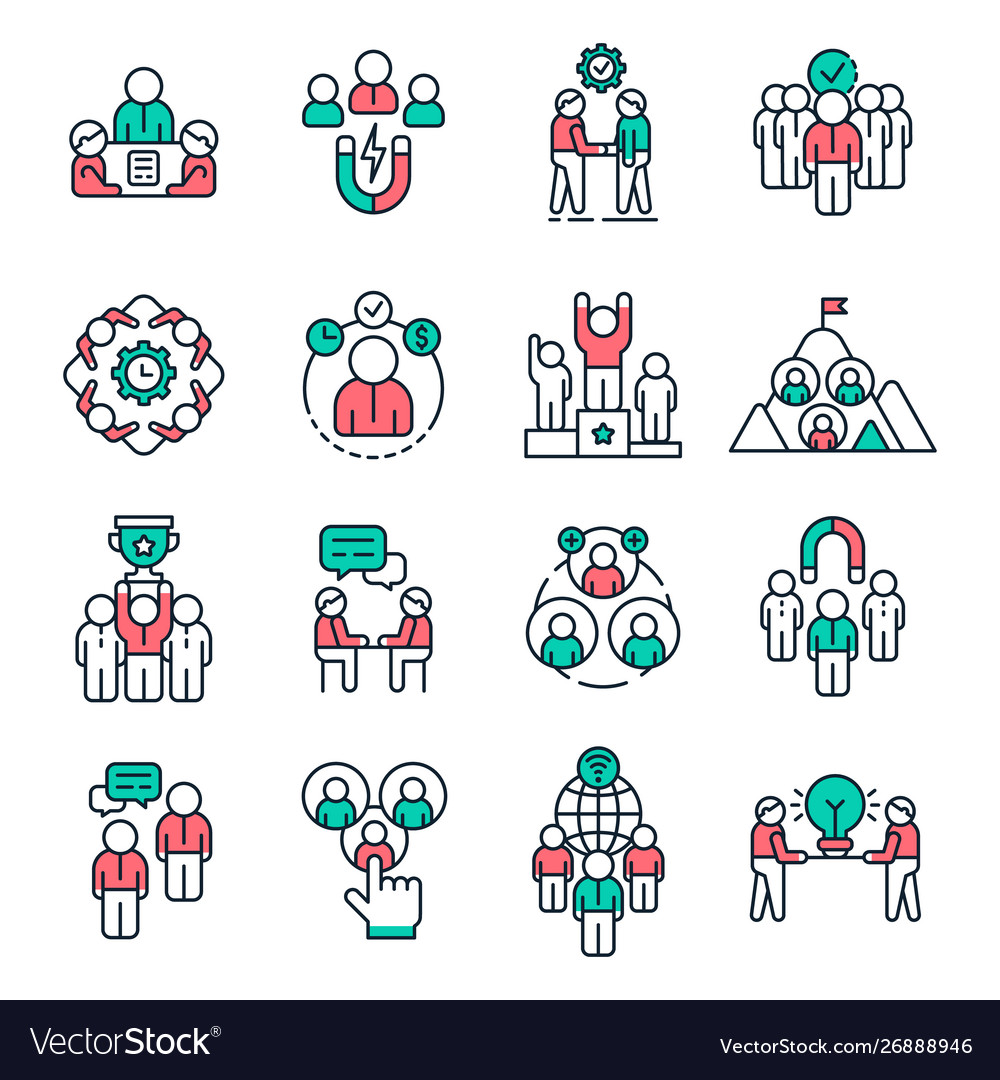 People team outline icons work group pictogram