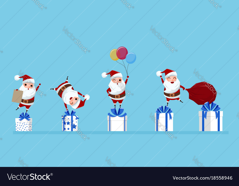 Santa claus in a variety of gestureson on gift box
