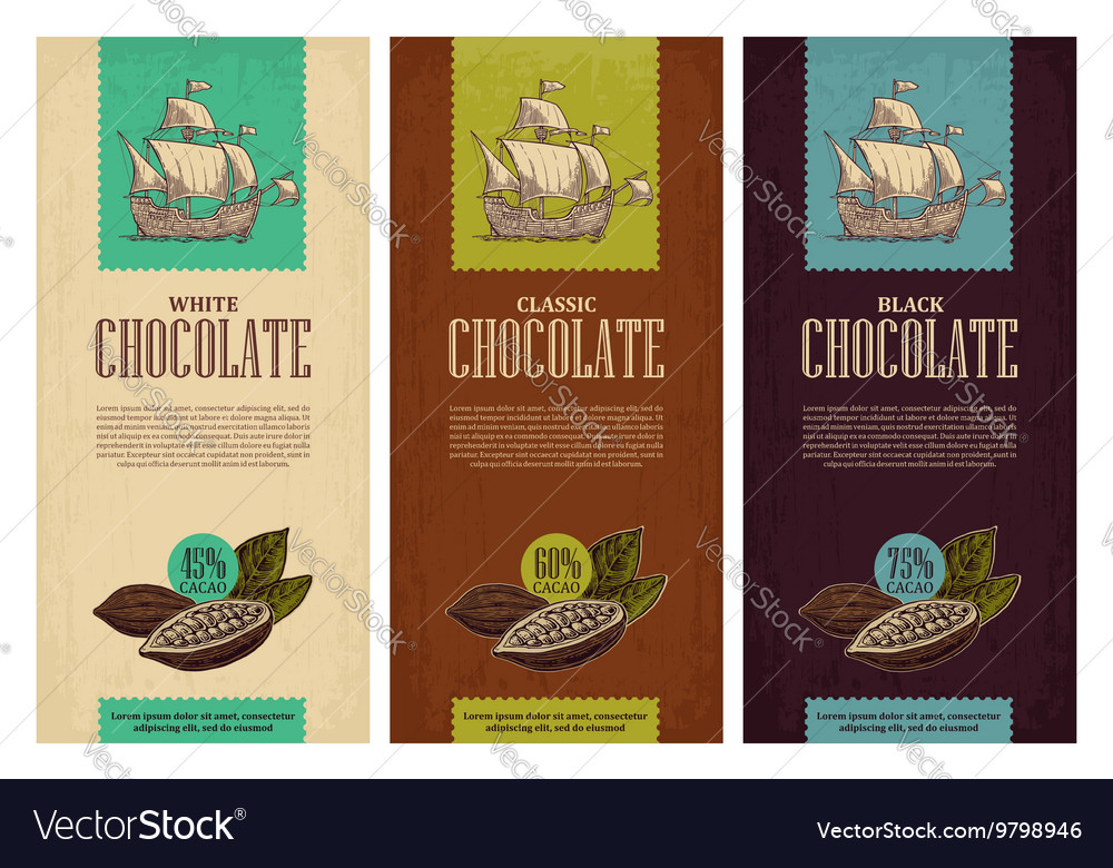 Set of label for chocolate with fruits of cocoa
