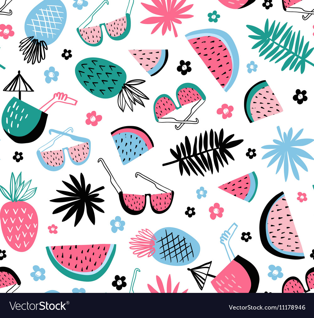 Summer seamless pattern tropical background with