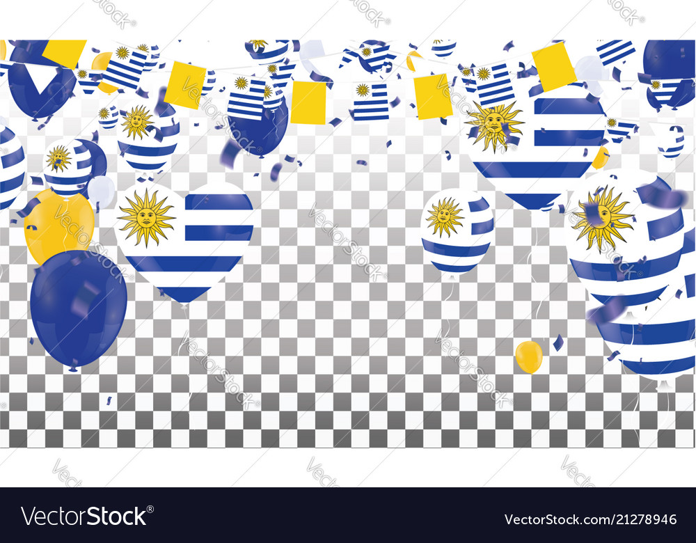 Uruguay flags and uruguay balloons garland with