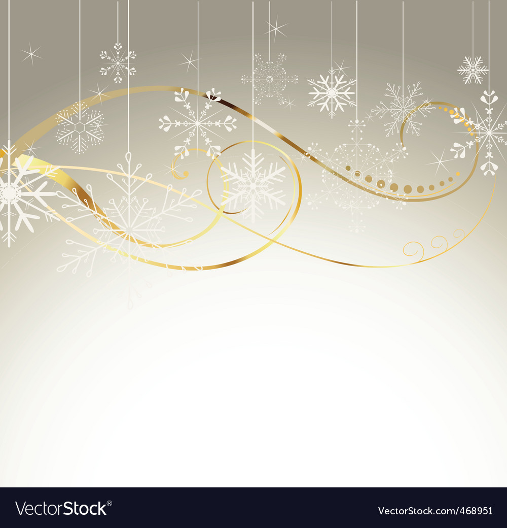 Background with gold and snowflakes1 vector image