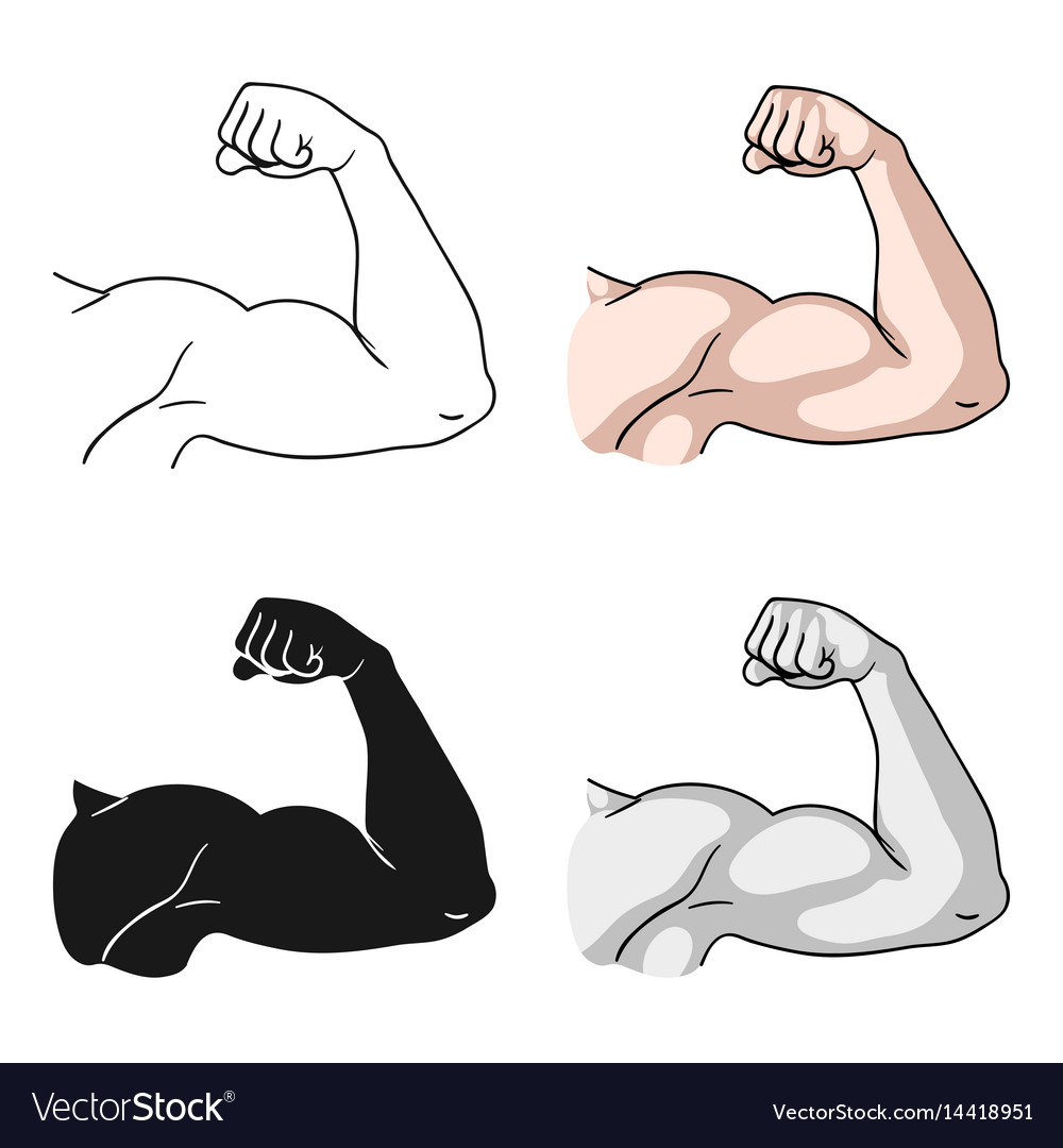 Biceps icon in cartoon style isolated on white