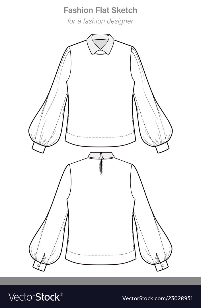 Blouse Fashion Flat Technical Drawing Template Vector Image