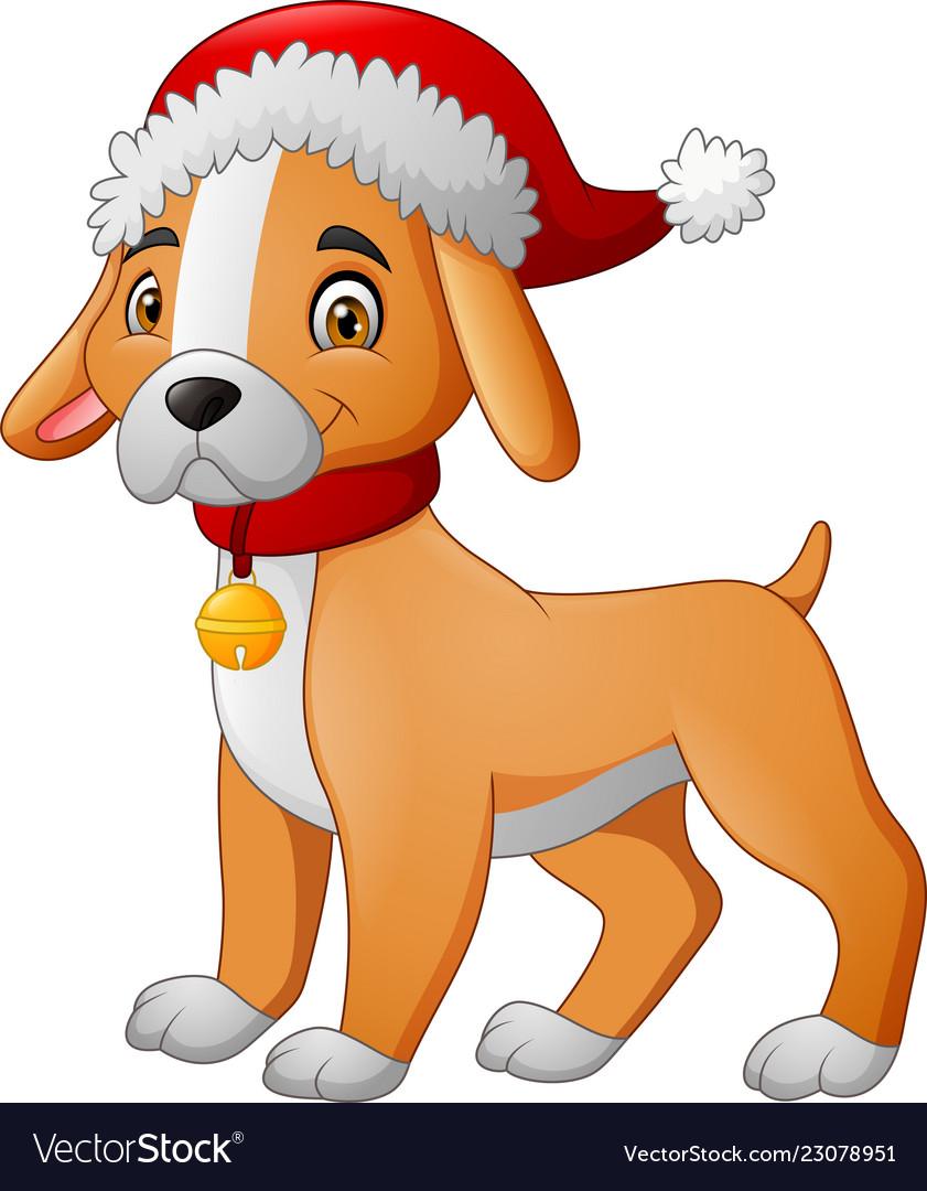 Cartoon dog wearing a santa hat