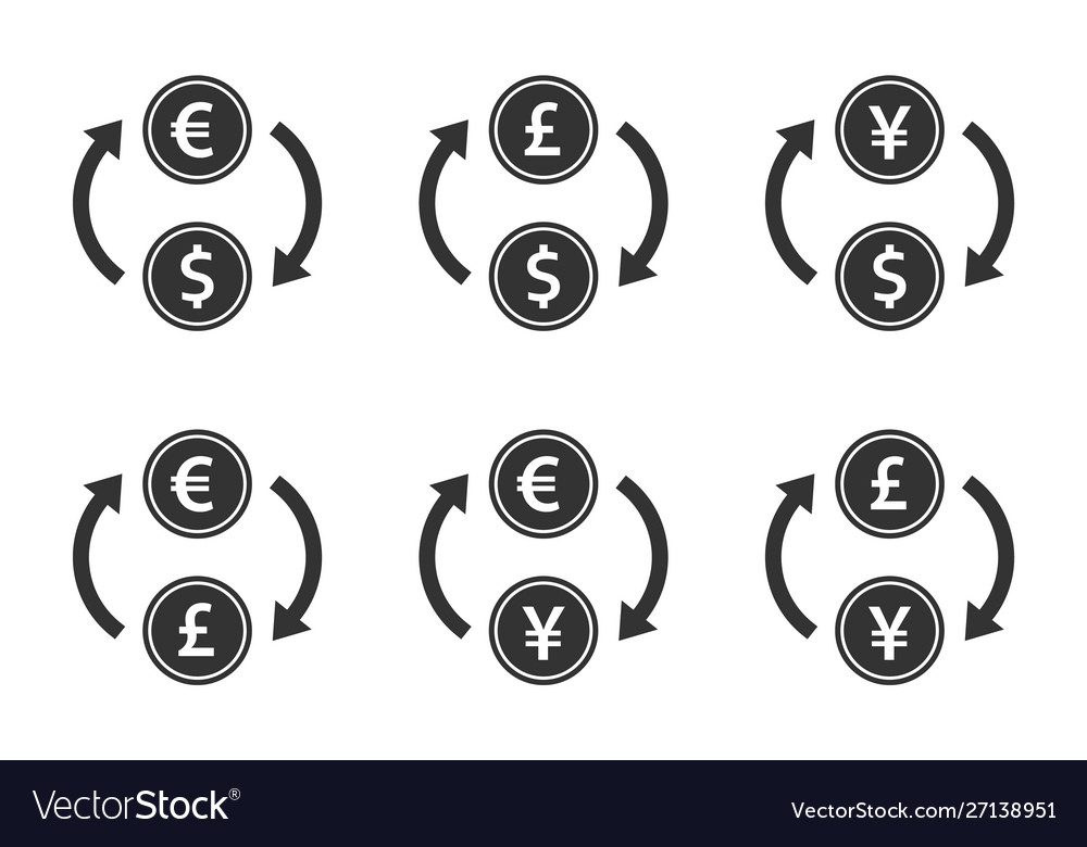 Currency exchange icon set dollar euro yen and