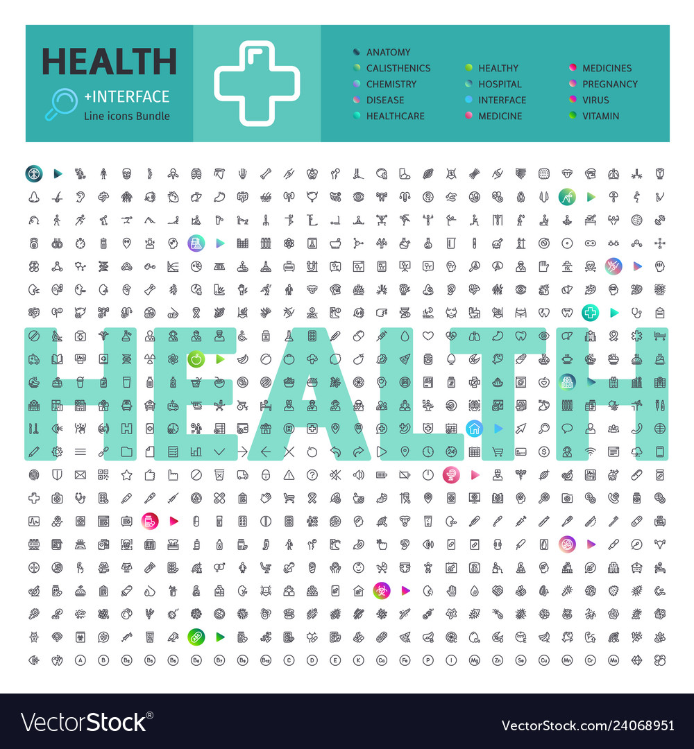 Health thematic collection line icons
