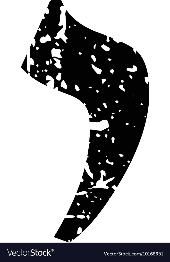 Hebrew letter Yod Shabby black font The Hebrew