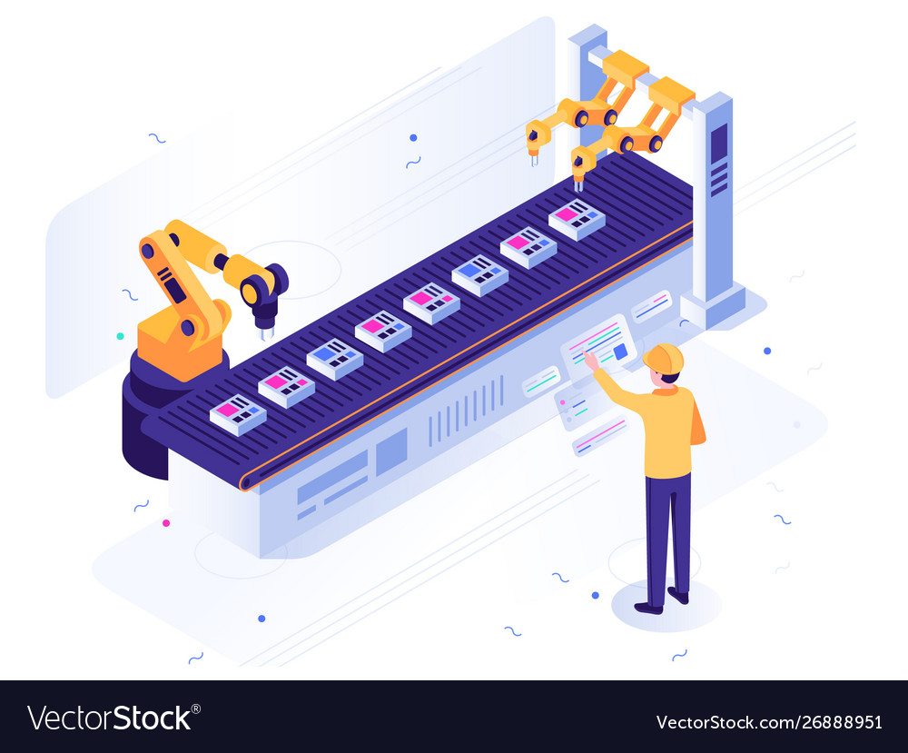 Isometric robotic factory engineer operates