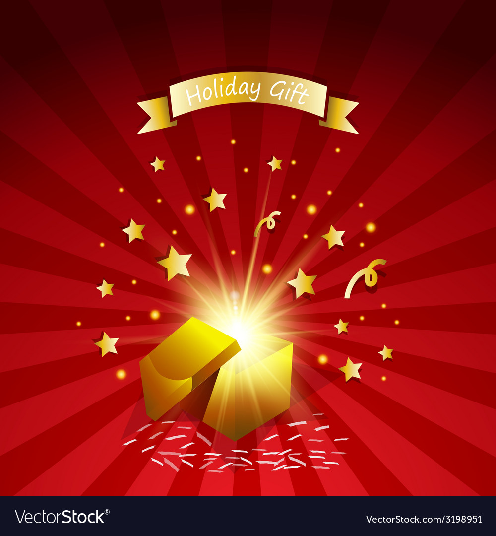 Open magic gift with fireworks from light effect vector image