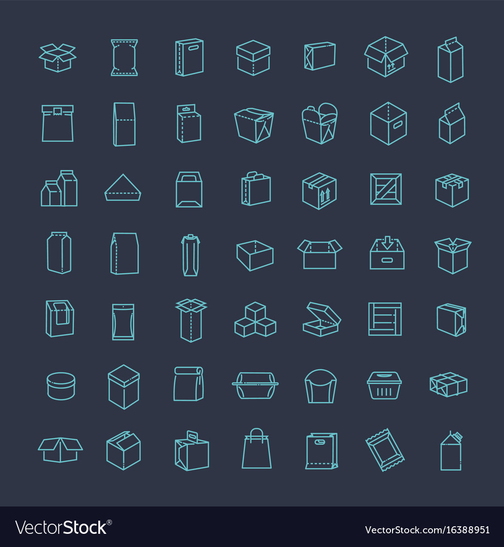 Package types icon set in thin line style