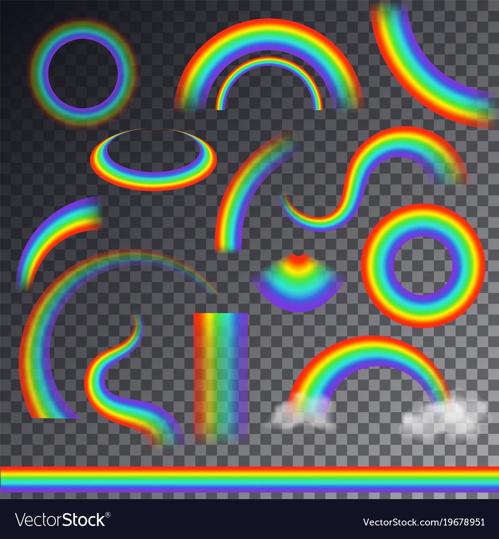 Rainbow colorful bowed arc in raining sky