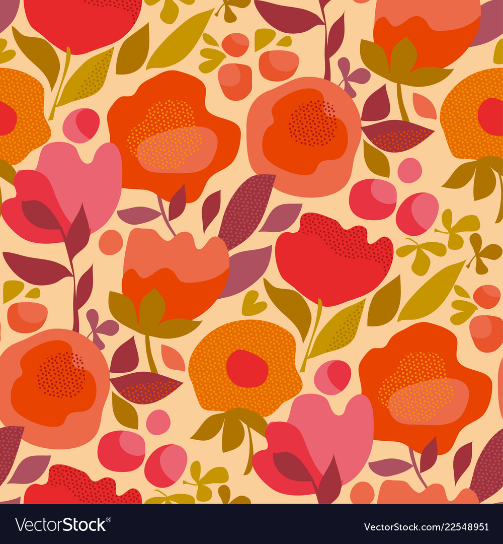 Red and pink decorative flowers in retro style