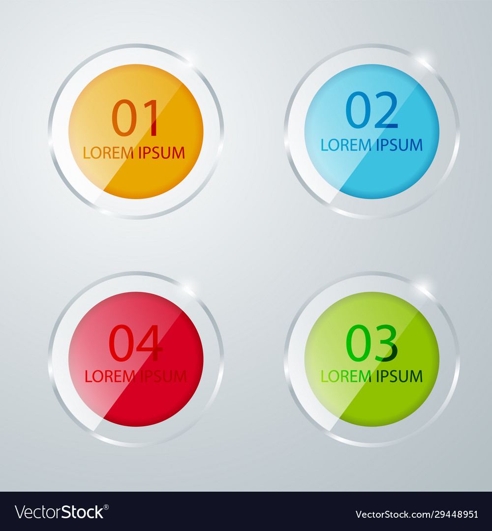 Round colored glass icons banner template