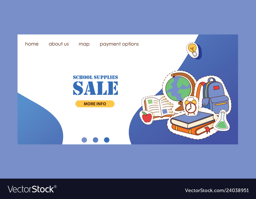 School supplies landing page education