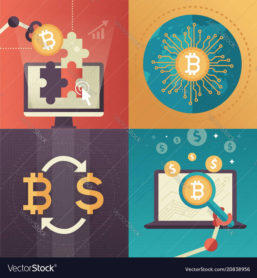 Cryptocurrency - set of colorful flat design style
