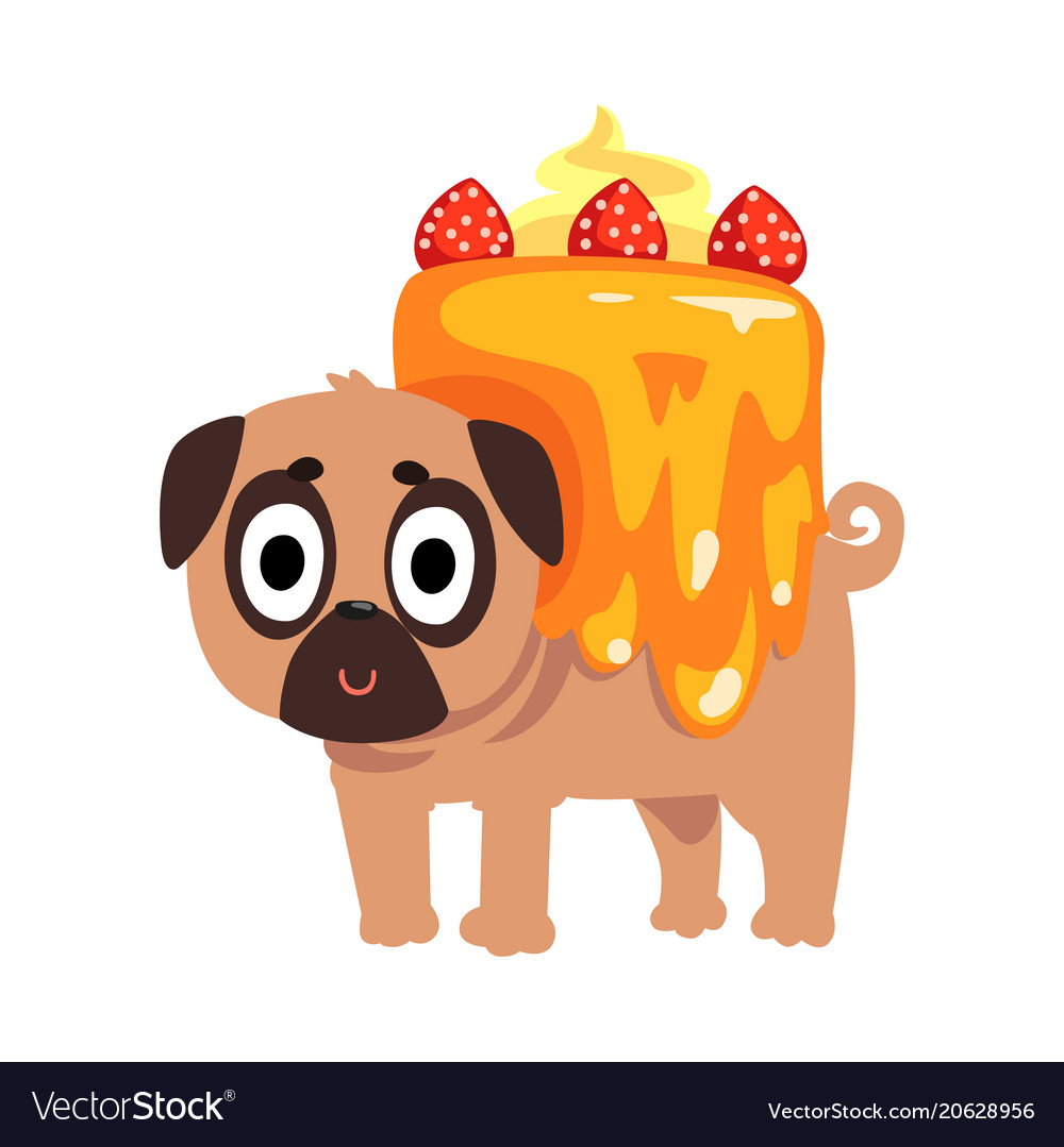 Cute funny pug dog character inside sweet cake