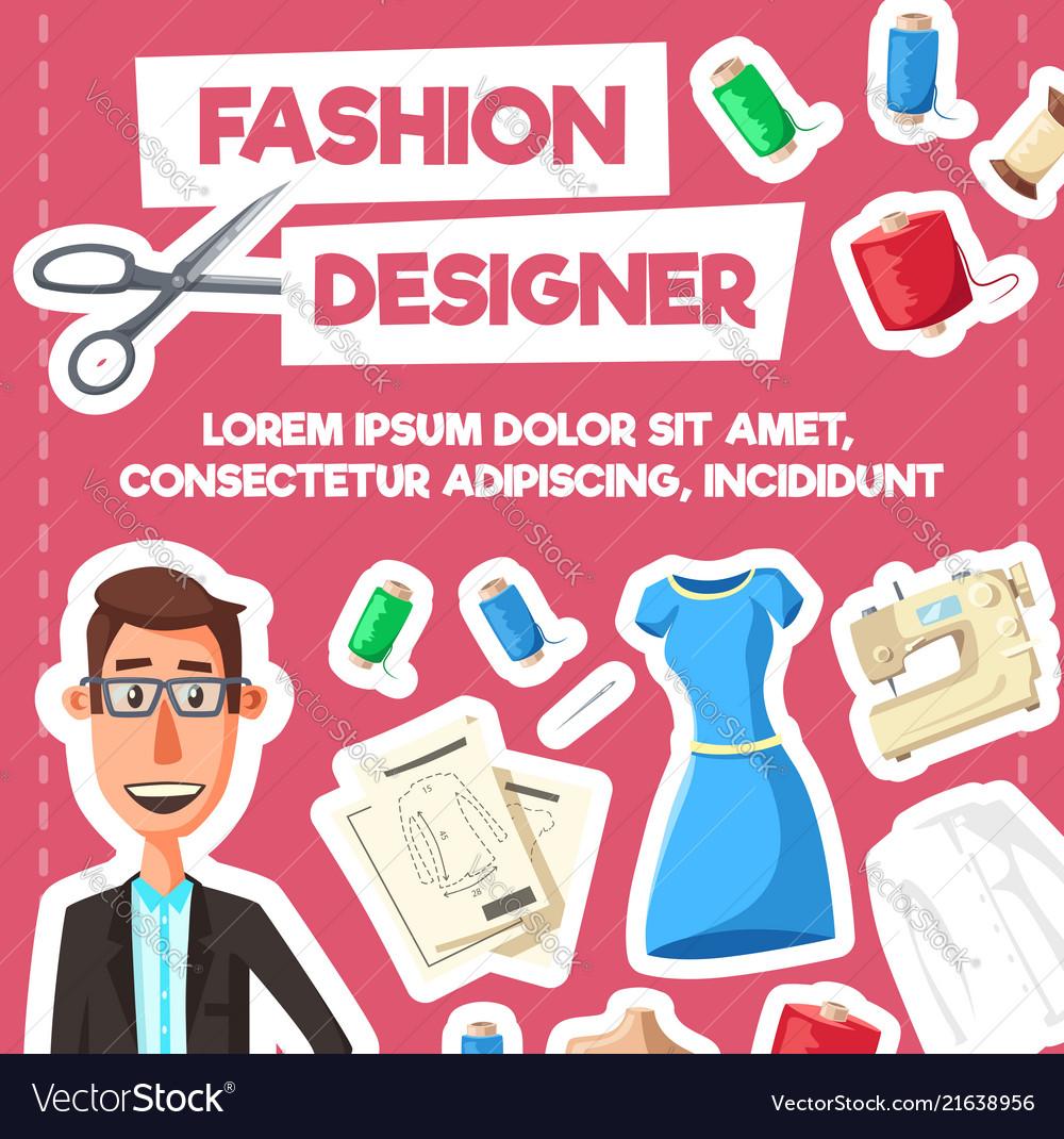 Fashion designer or tailor profession poster