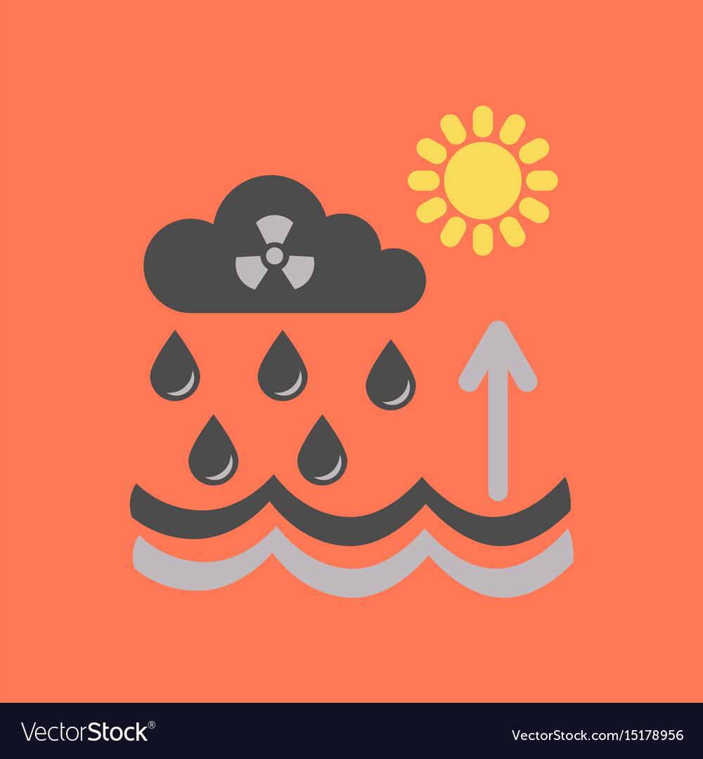 Flat icon on stylish background radioactive cloud