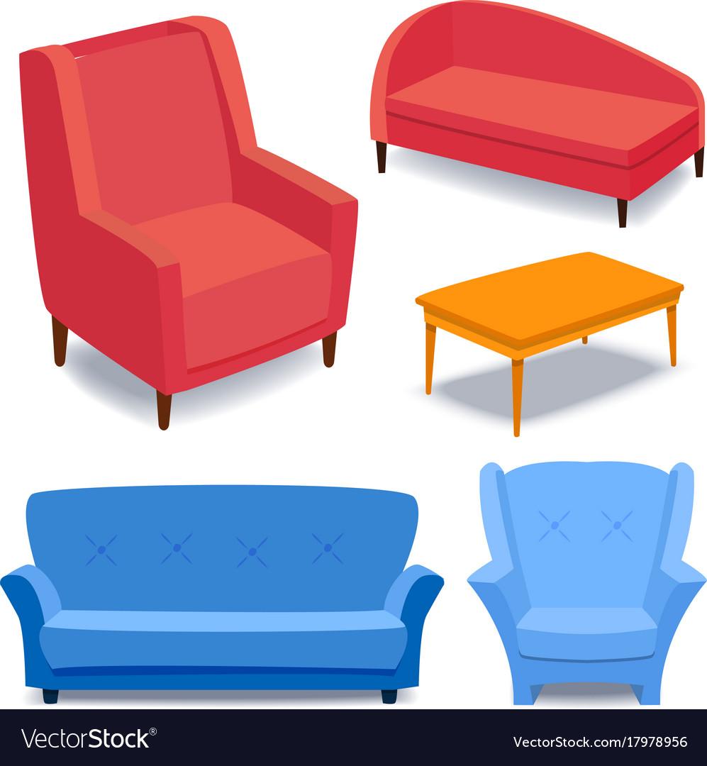 Furniture interior icons home design modern living