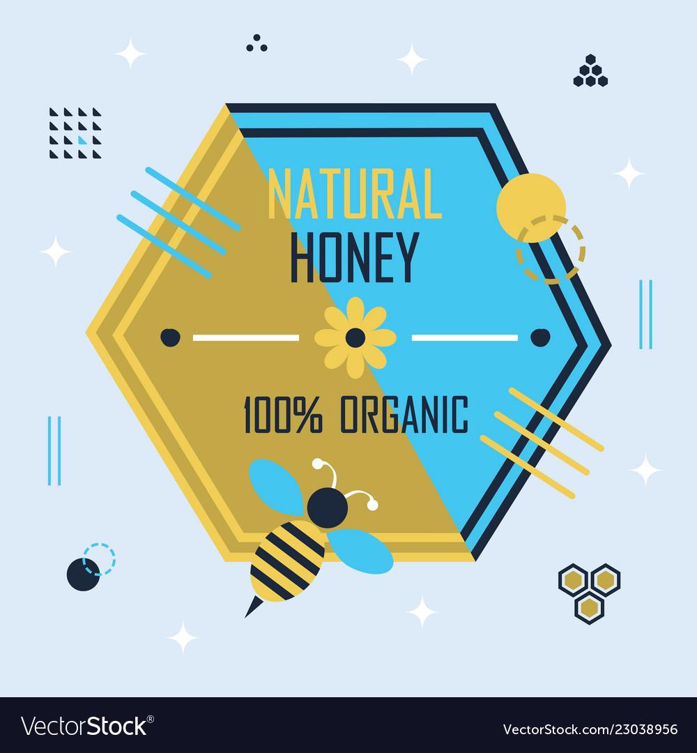 Golden and blue hexagon honey bee emblem banner