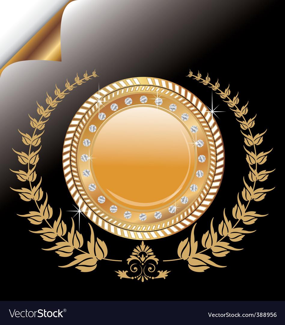 Laurel wreath medallion vector image