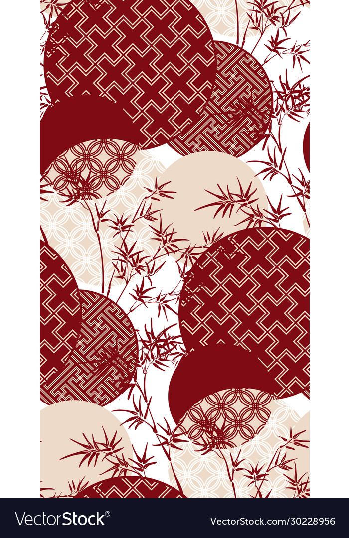 Red Bamboo Plant Japanese Chinese Design Pattern Vector Image