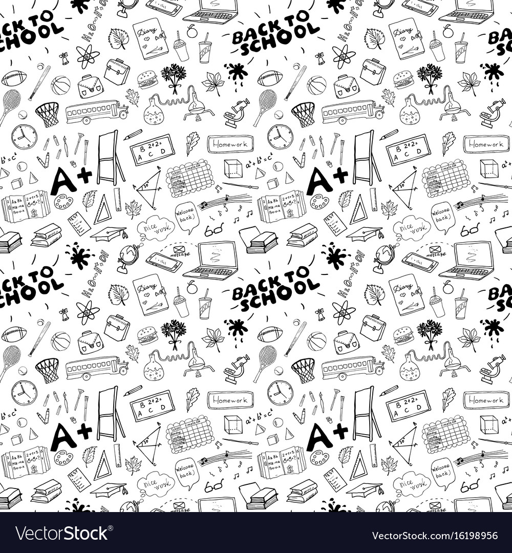 School seamless pattern handdrawn doodles