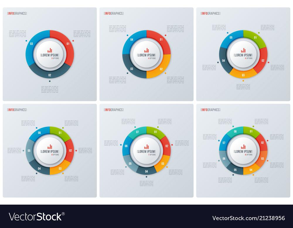 Set modern style circle donut charts