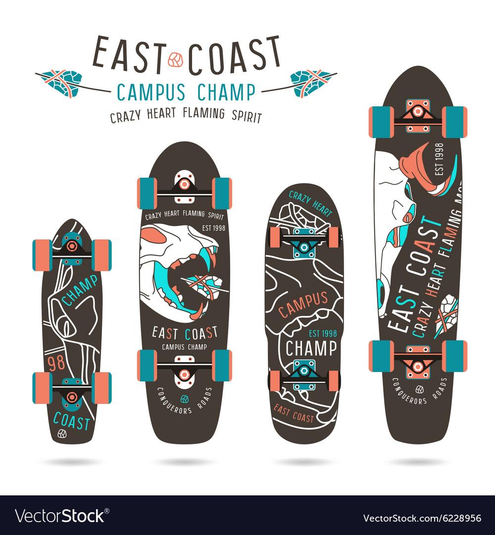 Set of prints on longboard vector image