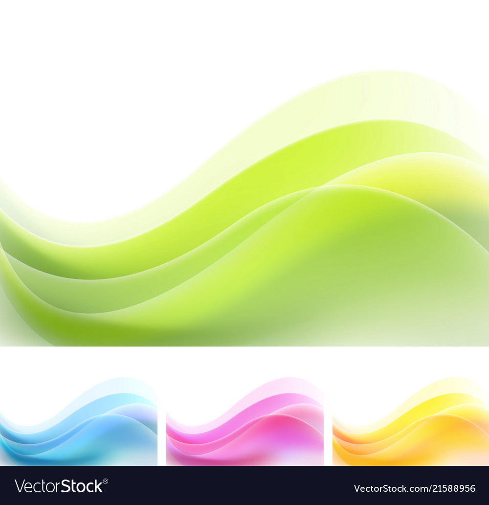 Set of vibrant abstract waves backgrounds